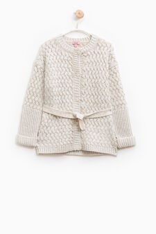 Knitted cardigan with belt, Beige, hi-res