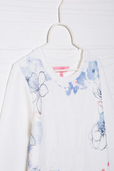 Cotton blend printed sweatshirt, White, hi-res
