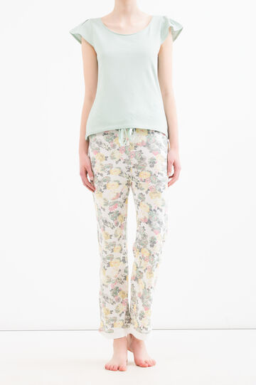Cotton and modal pyjama trousers, White/Green, hi-res