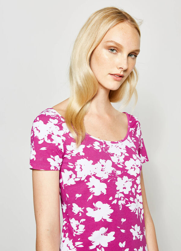 Floral T-shirt in stretch cotton | OVS