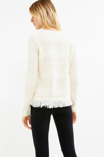 Solid colour knit pullover with fringe, White, hi-res