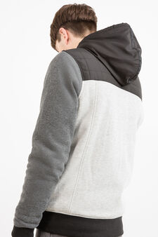 Cotton blend jacket with insert, Grey, hi-res