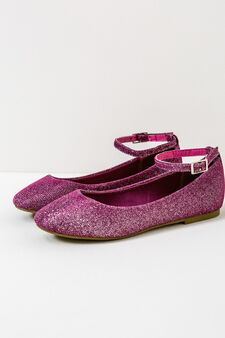 Ballerina flats with glitter and strap, Fuchsia, hi-res