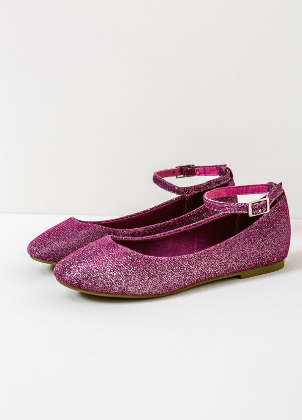 Ballerina flats with glitter and strap | OVS