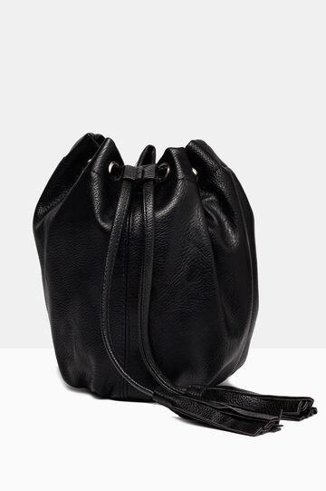 Leather look shoulder bag., Black, hi-res