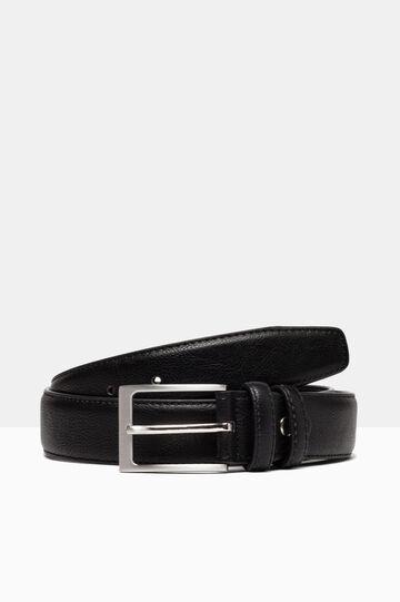 Hammered leather look belt., Black, hi-res