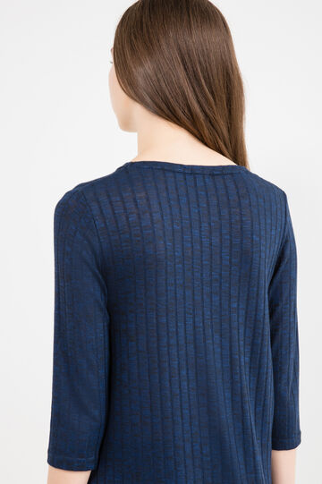 Ribbed T-shirt with three-quarter sleeves, Blue Marl, hi-res