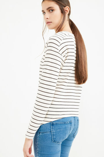 Cotton knitted T-shirt with striped design and lace, White/Black, hi-res