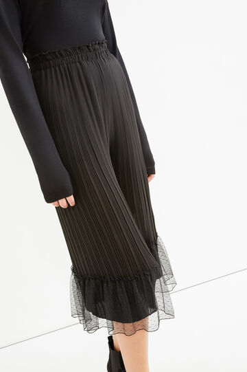 High-waisted pleated cropped trousers, Black, hi-res