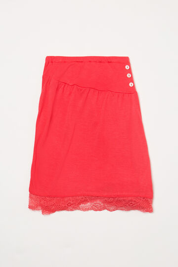 Viscose pyjama shorts with lace, Red, hi-res