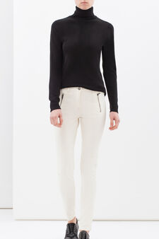 Stretch cotton trousers with zip, Milky White, hi-res