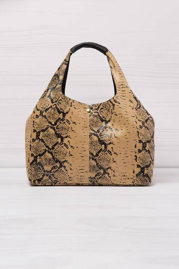 Snakeskin look shoulder bag, Beige, hi-res