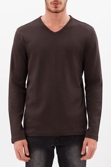 V-neck T-shirt, Chocolate Brown, hi-res