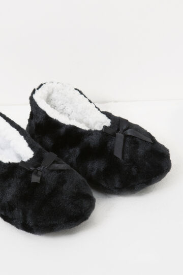 Fur slippers with bow, Black, hi-res