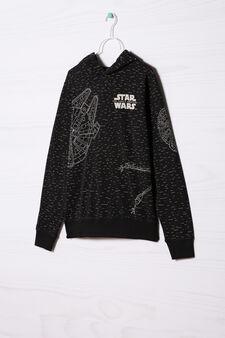 100% cotton hoodie with Star Wars print, Black, hi-res