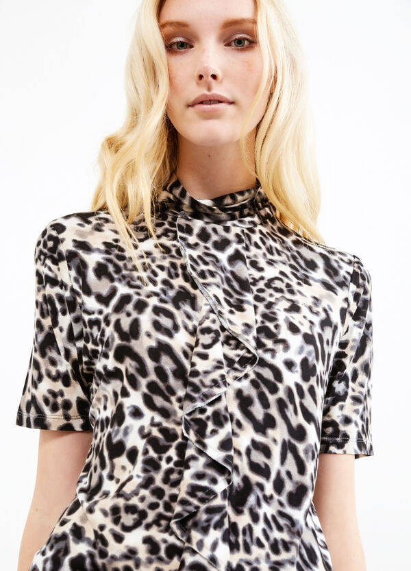 Stretch viscose T-shirt with animal print | OVS