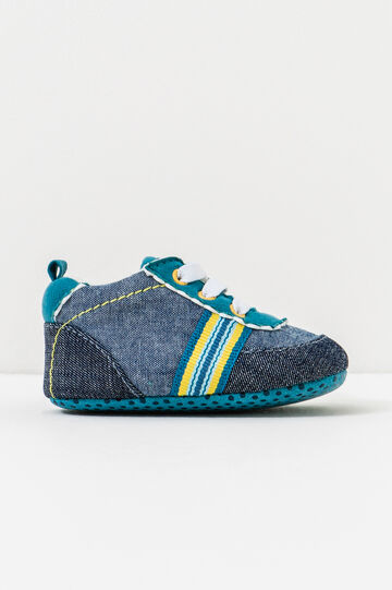 Shoes with lace and inserts, Blue, hi-res