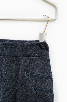 Cotton and lurex trousers with zip, Blue, hi-res