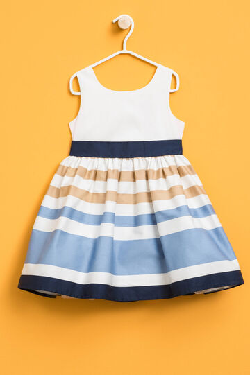 Sleeveless dress with striped skirt, White/Light Blue, hi-res
