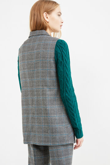Long stretch waistcoat with check pattern, Grey/Blue, hi-res