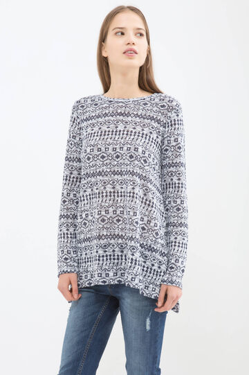 A-line patterned T-shirt, White/Blue, hi-res