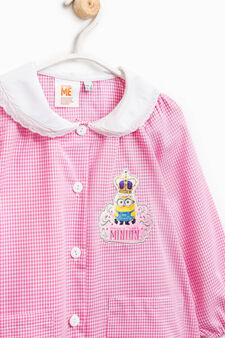 Check smock with Minions patch, White/Pink, hi-res