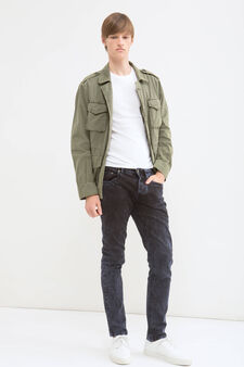 100% cotton jacket with bluff collar., Green, hi-res
