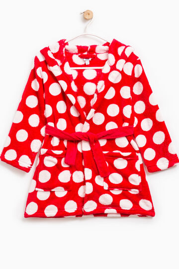 Polka dot Dressing gown with hood, Red, hi-res