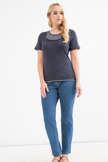T-shirt cotone fantasia righe Curvy, Blu navy, hi-res