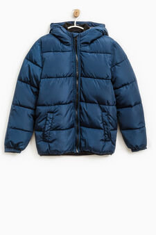 Solid colour down jacket with hood, Blue, hi-res