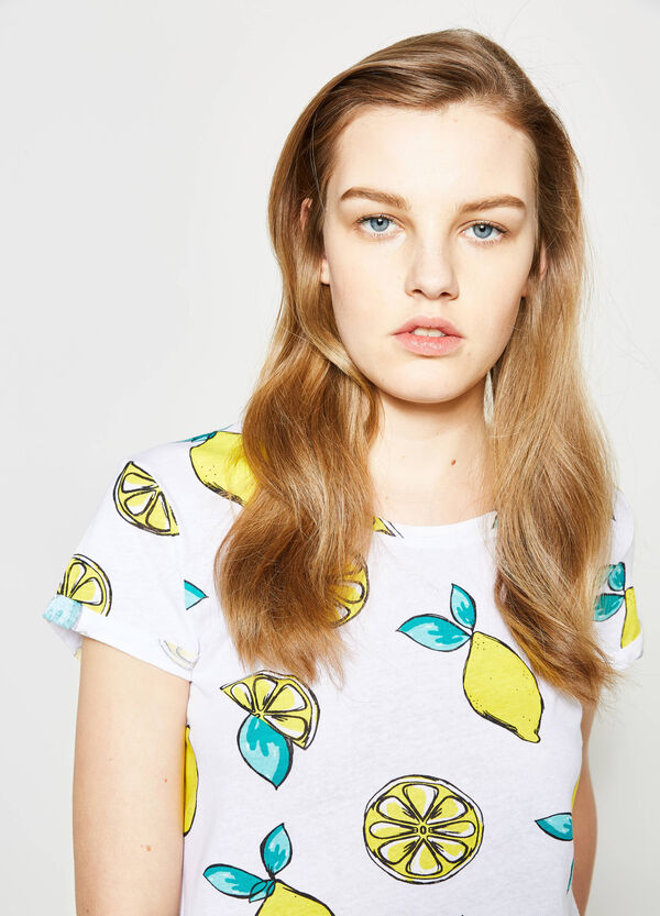 Patterned cotton crop T-shirt | OVS