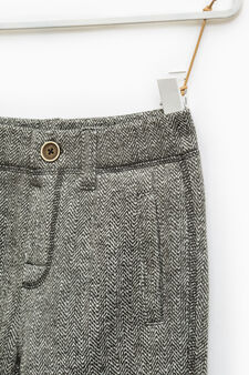 Joggers in patterned cotton fleece, Grey Marl, hi-res