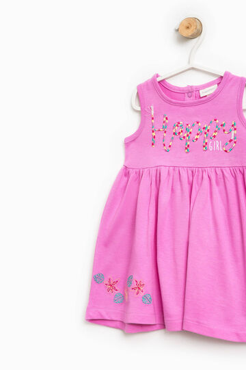 Sleeveless cotton dress with embroidery