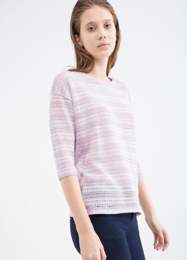 T-shirt traforata in misto viscosa | OVS