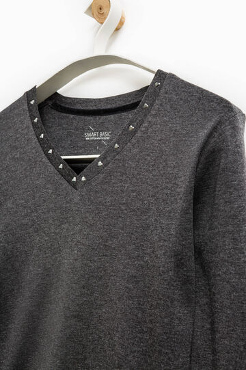 Smart Basic T-shirt with diamanté heart, Grey, hi-res