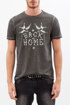 Printed T-shirt with contrasting stitching., Slate Grey, hi-res