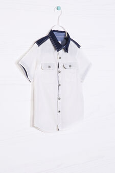 Cotton linen shirt with two pockets, White/Blue, hi-res