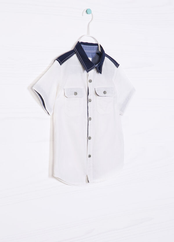 Cotton linen shirt with two pockets | OVS