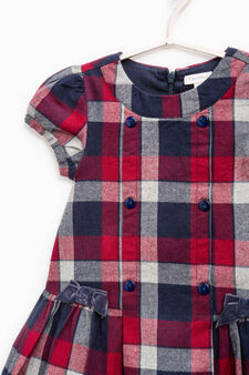 100% cotton check dress, Blue/Red, hi-res