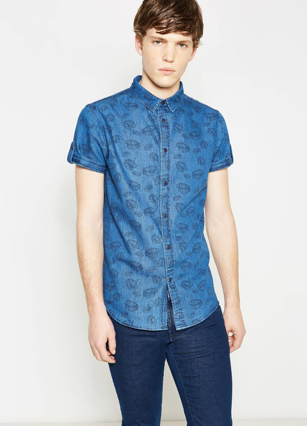 Slim-fit casual faded floral denim shirt | OVS