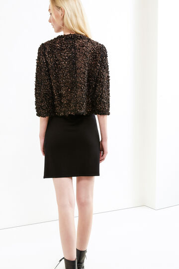 Short cardigan with neckline fastening, Black, hi-res