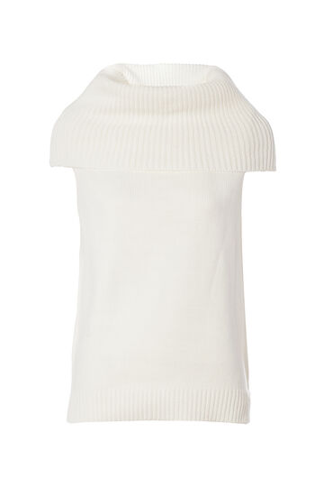 Smart Basic waistcoat with high neck, Cream White, hi-res