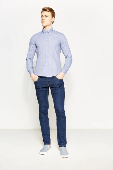 Camicia casual in cotone micro quadri, Bianco/Blu, hi-res