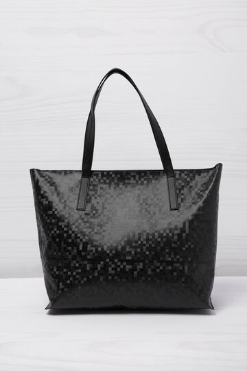 Shopping bag, pixel effect, Black, hi-res