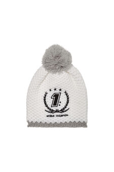 Beanie cap with pompoms, White, hi-res