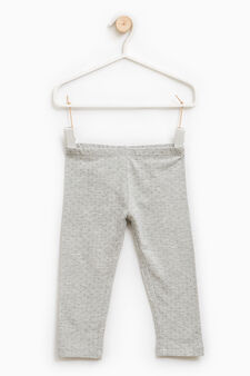 Stretch cotton polka dot leggings, Grey, hi-res