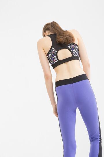 Cotton printed sports leggings, Black, hi-res