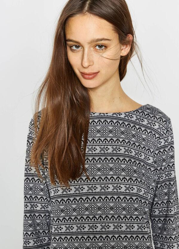 Stretch T-shirt with geometric pattern | OVS