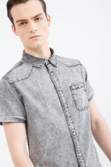 Camicia jeans maniche corte, Nero, hi-res