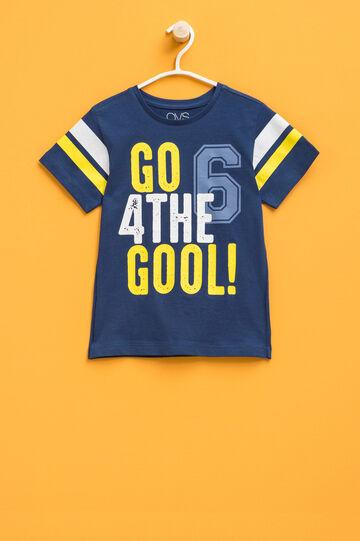 100% cotton T-shirt with maxi print, Blue, hi-res